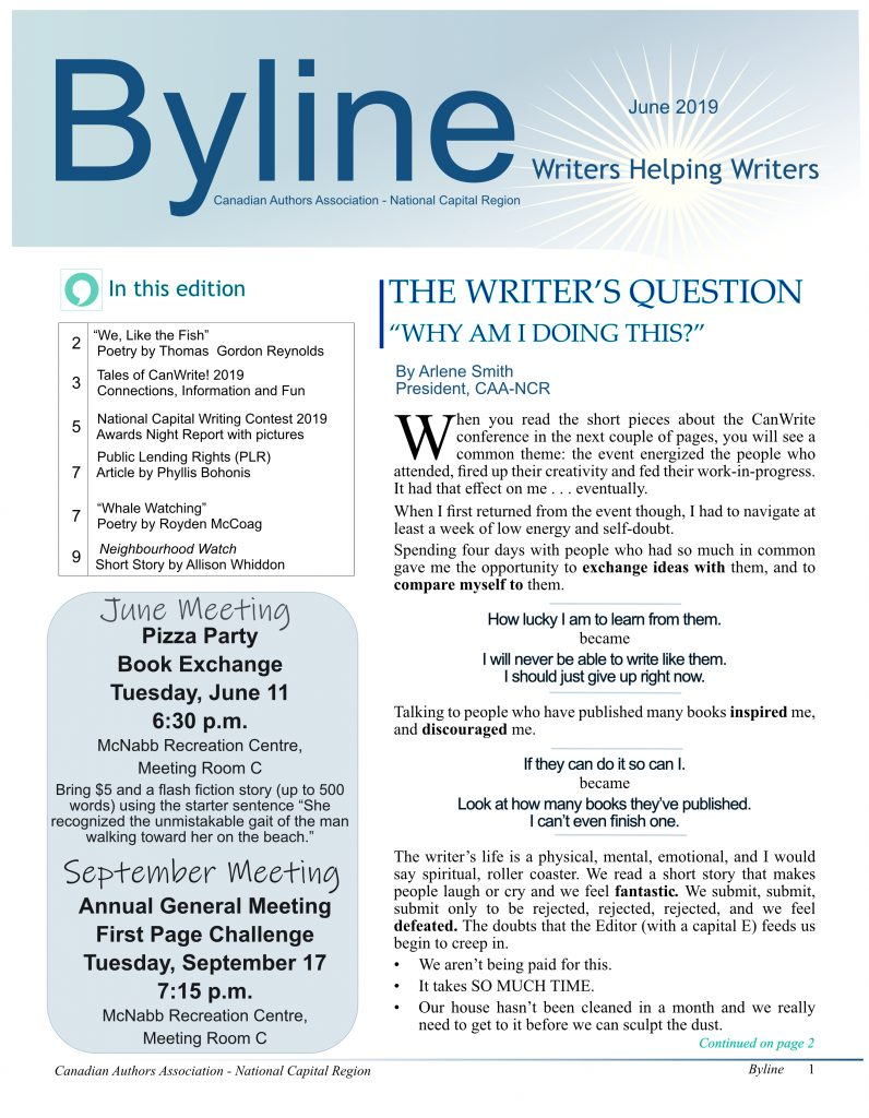 Byline magazine | Canadian Authors National Capital Region