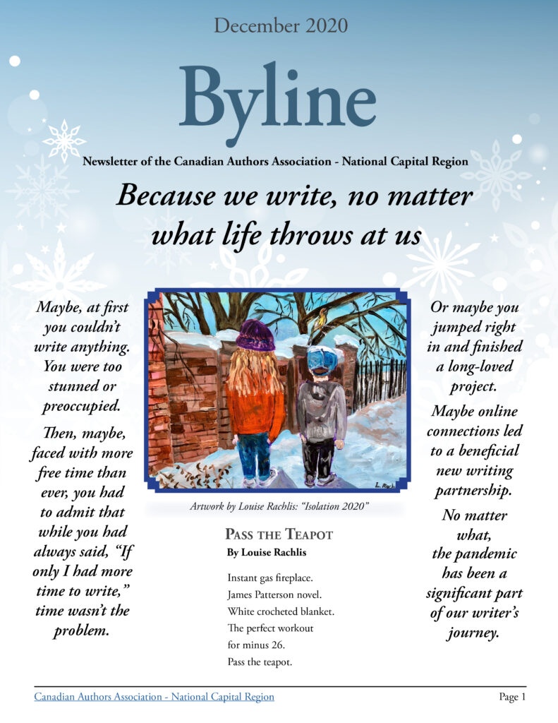 Front cover of Byline December 2020, featuring the artwork of Louise Rachlis